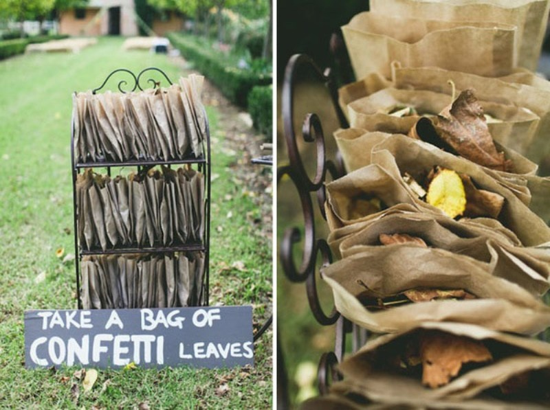 natural fall leaves in fabric bags are all natural and are amazing for a fall wedding   gather them yourself