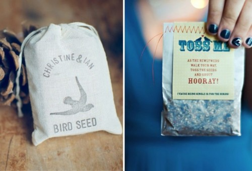bird seeds are super natural and cool alternatives to usual confetti and will have a cool ecological impact