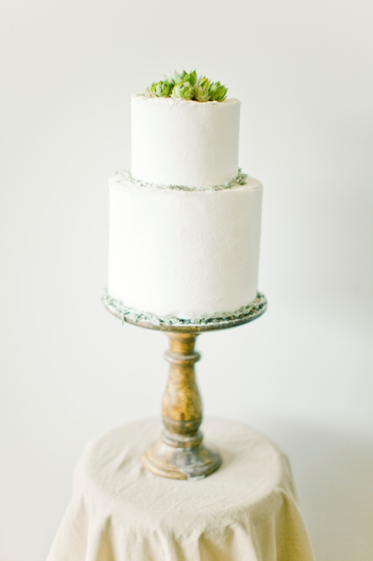 a textural white wedding cake with some greenery on top is a stylish and simple idea to rock