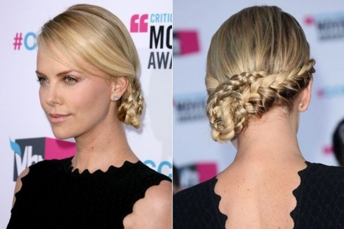 a chic braided side updo with a sleek top is a cool hairstyle for a bride who loves trends and wants to look edgy