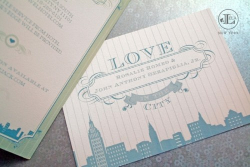 blue NYC wedding invitations are a perfect fit for a city powder blue wedding
