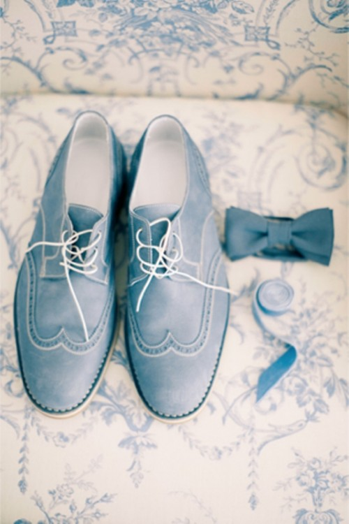 powder blue shoes, a matching bow tie to finish off a stylish and elegant groom's look