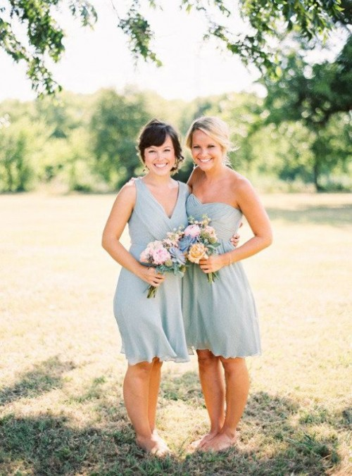 mismatching knee powder blue bridesmaid dresses paired with neutral shoes are perfect for spring and summer