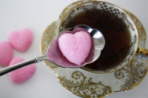 offer pink heart sugar instead of usual to make your tea party cuter