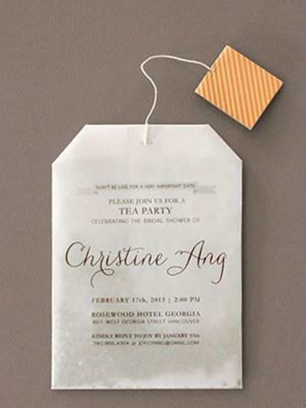 a tea bag invitation to your tea party bridal shower is a whimsy idea
