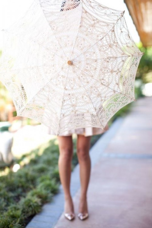 a lace parasol is a fun favor and decor idea for a vintage tea party shower