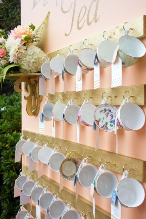 gorgeous vintage tea cup bridal shower favors with cards will be part of your decor
