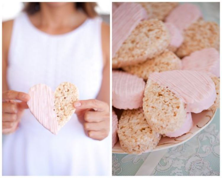 pink crispy rice cookies shaped as hearts are a cute treat idea