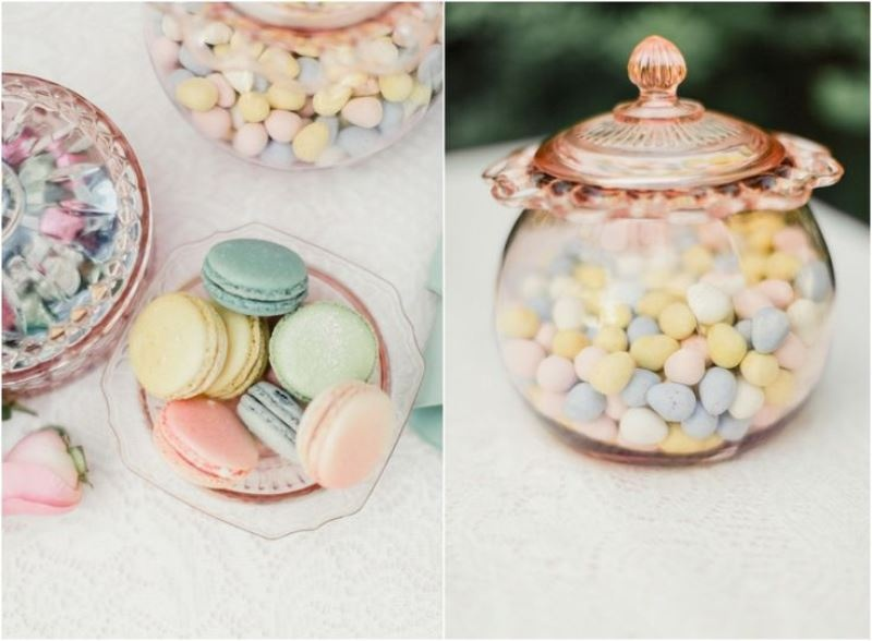 pastel colored candies and macarons are an amazing dessert idea for such a party