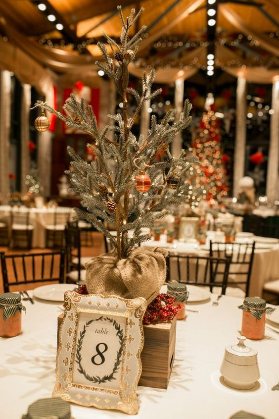 a homey winter wedding centerpiece of a box and a mini Christmas tree on it - withh pinecones and ornaments