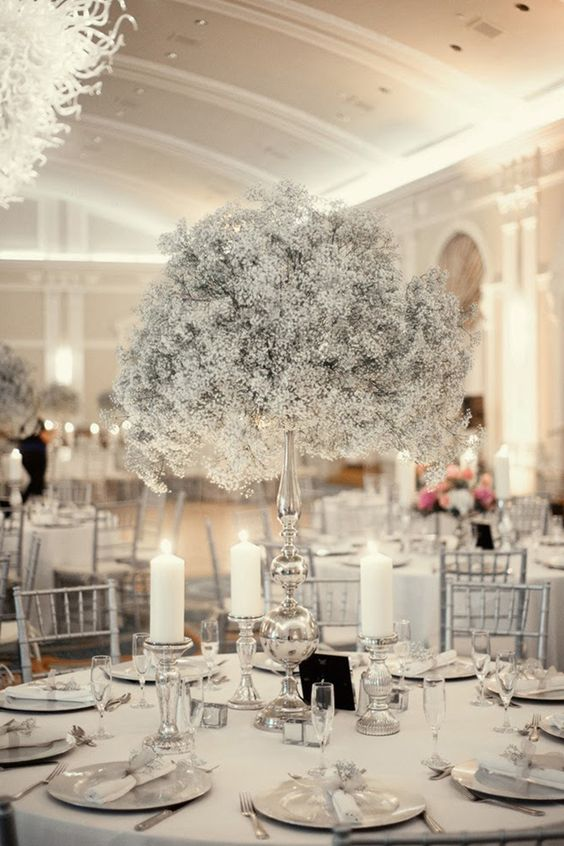 a pure white winter wedding centerpiece of a tall silver vase with white blooms and silver candleholders with candles