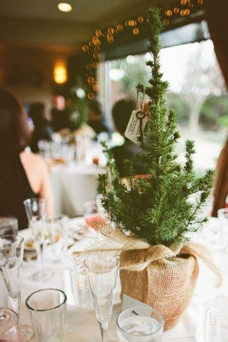a simple winter wedding centerpiece of a mini Christmas tree in burlap and a vintage key