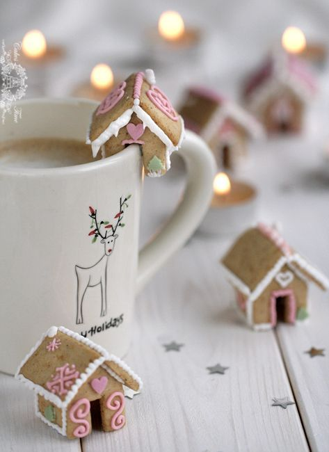 bite-sized gingerbread houses are amazing for each cup of hot chocolate or cocoa, they can be used as favors, too