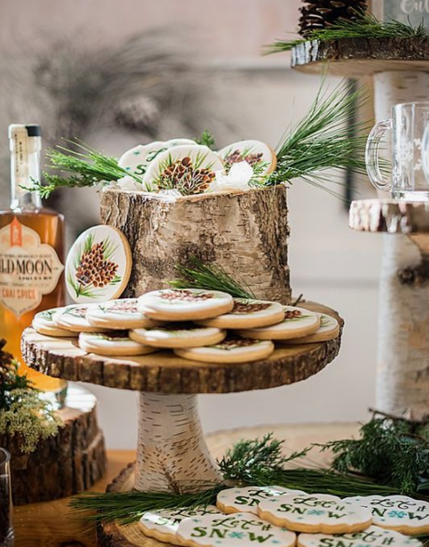 glazed cookies with pinecones and Let It Snow are cute and nice for a winter wedding