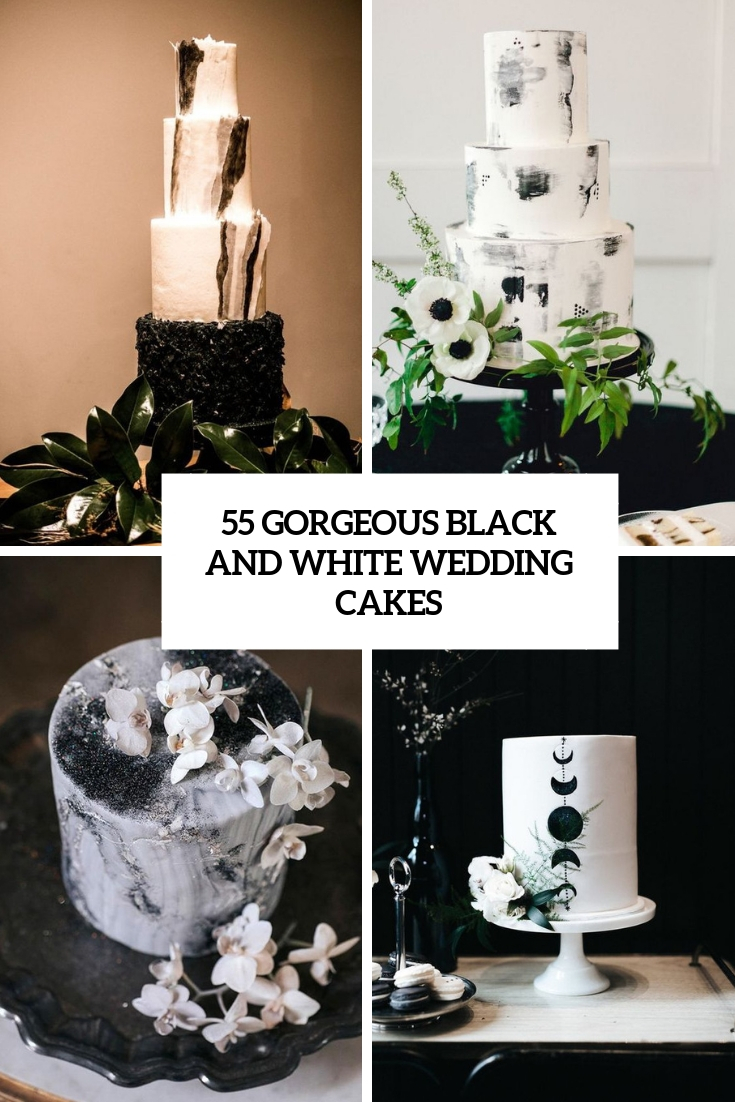 gorgeous black and white wedding cakes cover