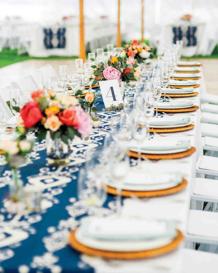 Ikat table runners and cheery floral arrangements made this bright setup especially inviting