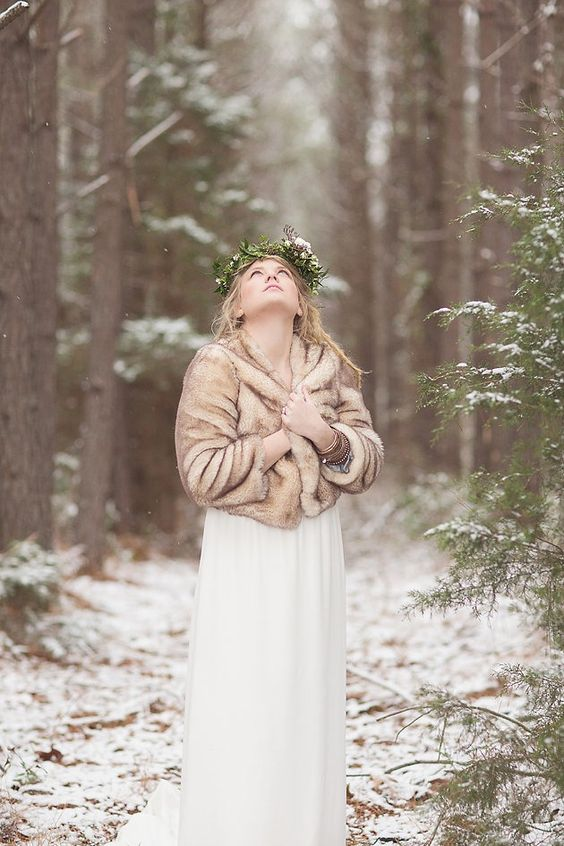 a beige faux fur cover up is a great idea for both fall and winter and will match many bridal looks easily