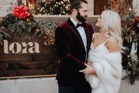 a stylish cover up for a Christmas bride