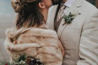 a neutral bridal look with a neutral faux fur cover up on top is a great idea for a fall or winter wedding