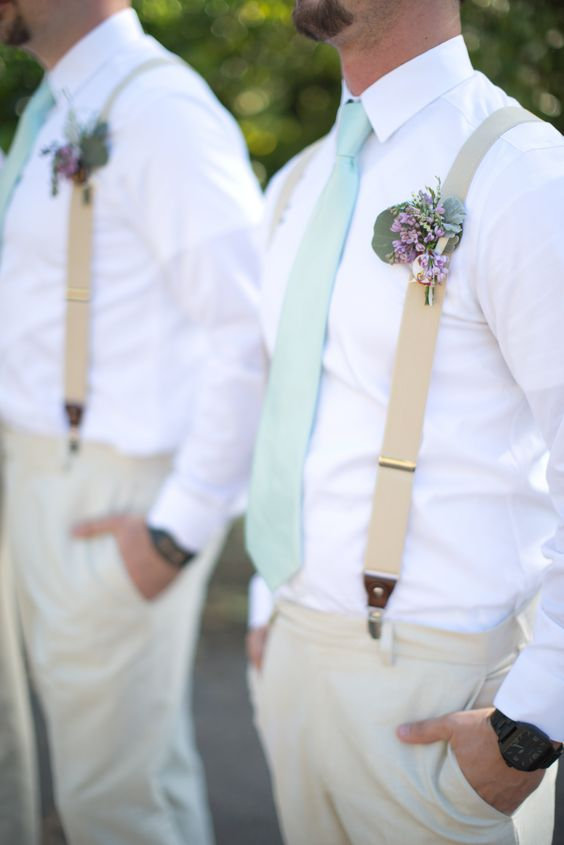 mint green ties and floral boutonnieres for styling groomsmen or groom's looks