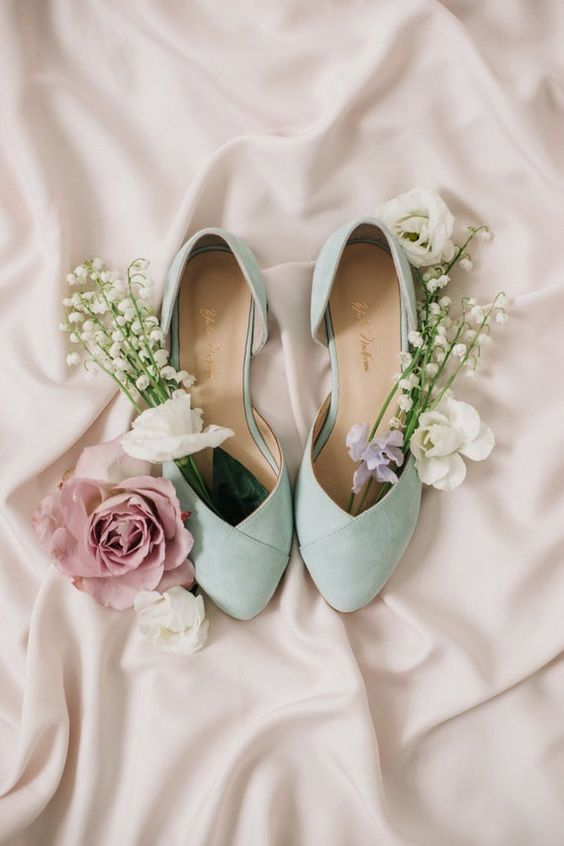mint vintage-inspired wedding flat shoes for a touch of lovely pastel color