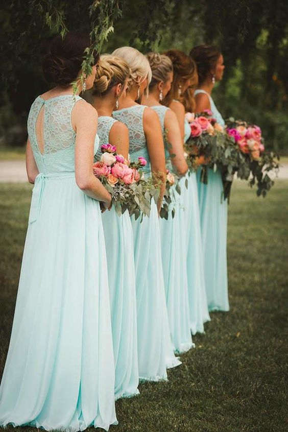 sleeveless mint-colored maxi bridesmaid dresses with a lace bodice and a pleated skirt for bridesmaids