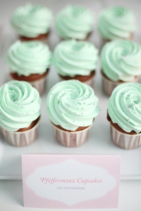 wedding cupcakes with mint frosting and edible beads are lovely and cool