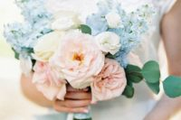 a blush, white and serenity blue wedding bouquet with just a touch of eucalyptus is chic