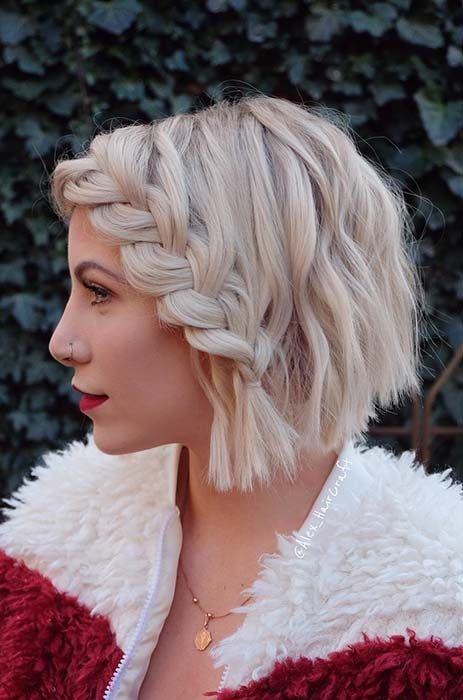 a textural short bob with a French side braid on top is a nice idea for shorter hair