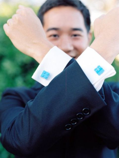 colorful Lego cuff links are amazing fun accents to your groom's look