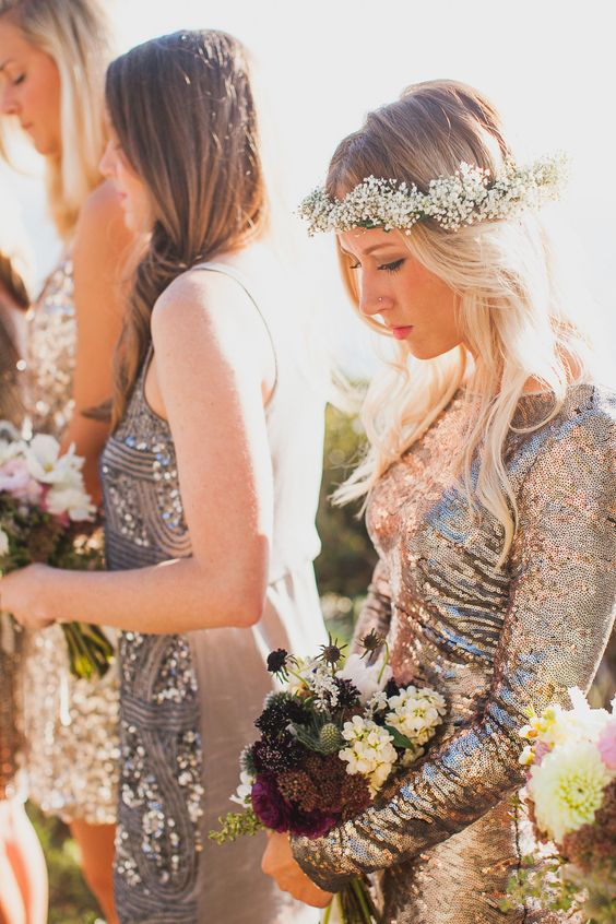 glitter and sequin mismatching bridesmaid dresses are lovely for modern glam weddings and look very cool and bold