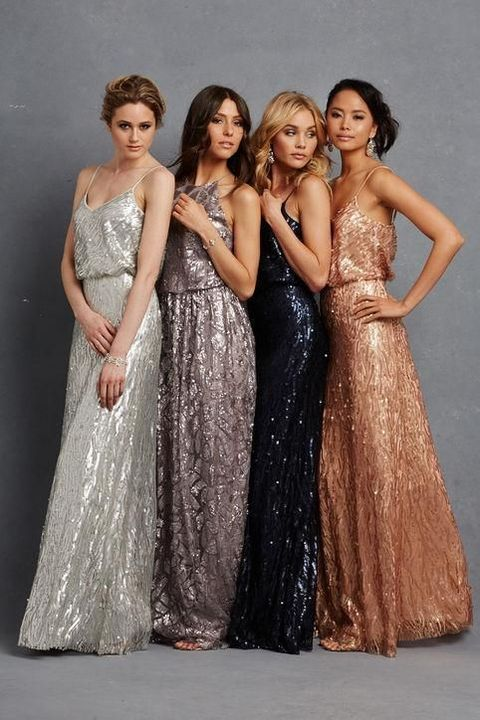 mismatching glitter maxi bridesmaid dresses with spaghetti straps are lovely and the range of colors is amazing