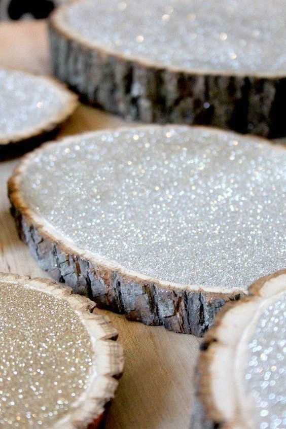 silver glitter wood slices are great for creatign centerpieces on them or can be given as wedding favors - these are pretty coasters