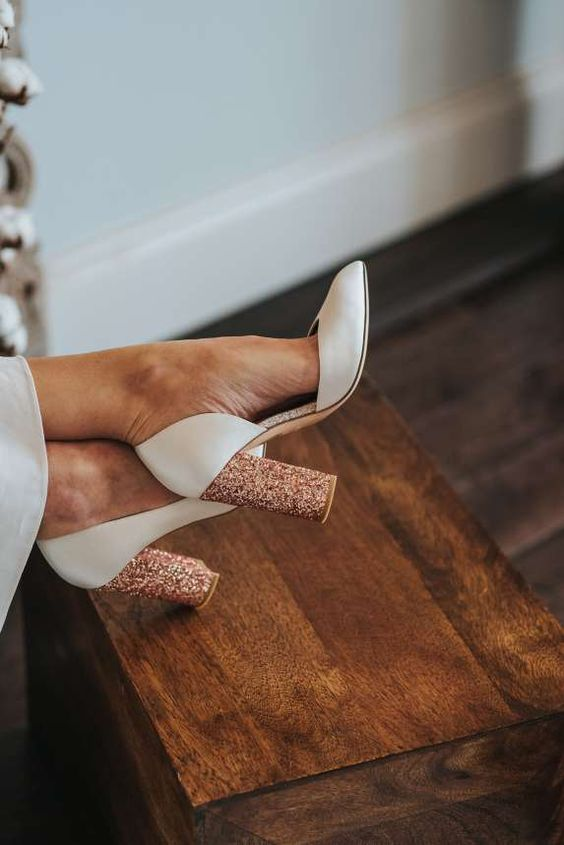 super chic white wedding shoes with copper glitter block heels are ideal for a stylish bridal look and are comfy in wearing