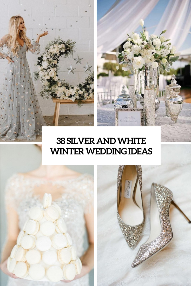 silver and white winter wedding ideas cover