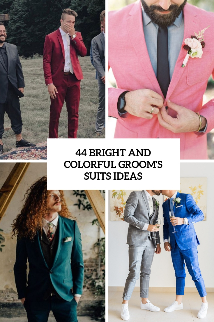 44 Bright And Colorful Groom's Suits Ideas