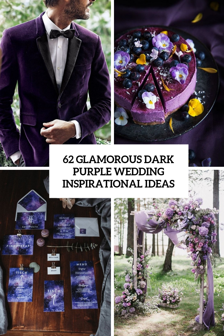 glamorous dark purple wedding inspirational ideas cover