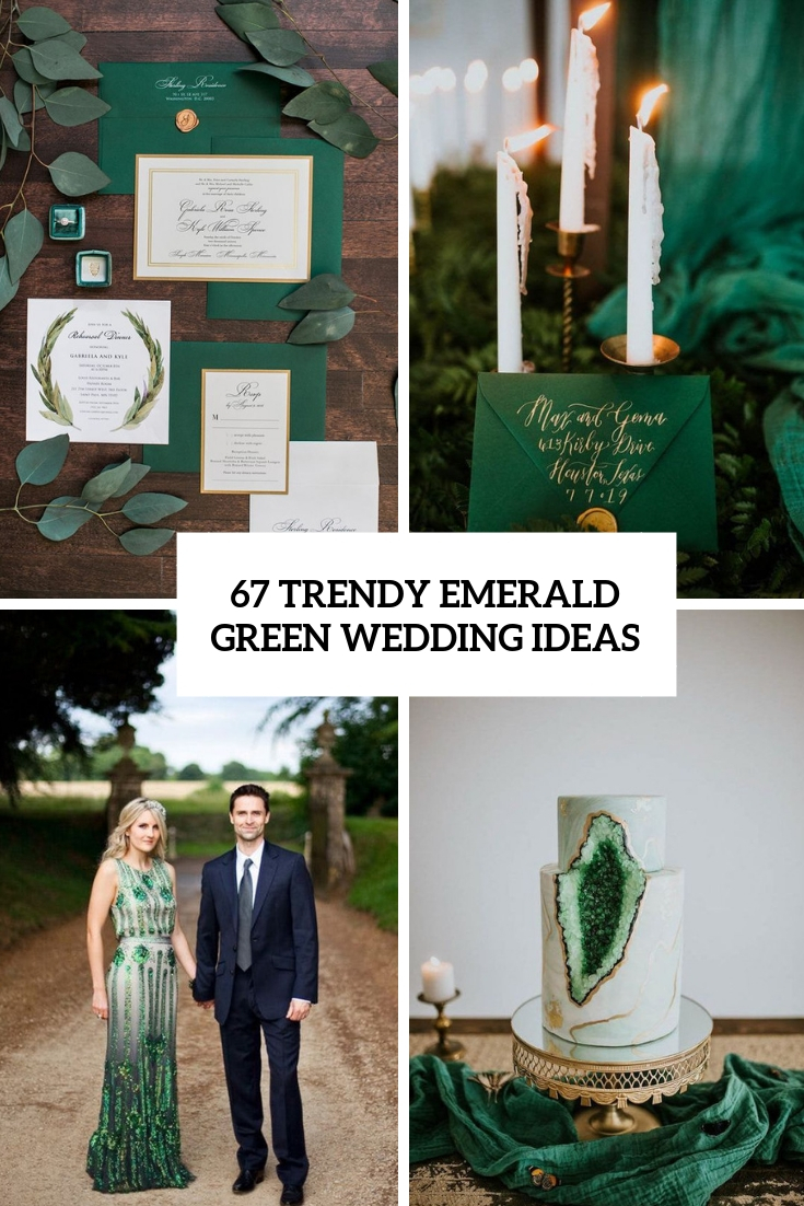 trendy emerald green wedding ideas cover