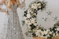 a grey wedding dress with silver stars is amazing not only for a winter wedding but also for a celestial one
