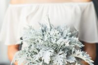 a pale millet wedding bouquet looks frozen and will give a unique look to a winter bride