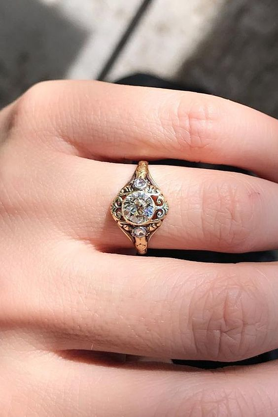 a sophisticated vintage gold and diamond engagement ring is very beautiful and will add chic to your look