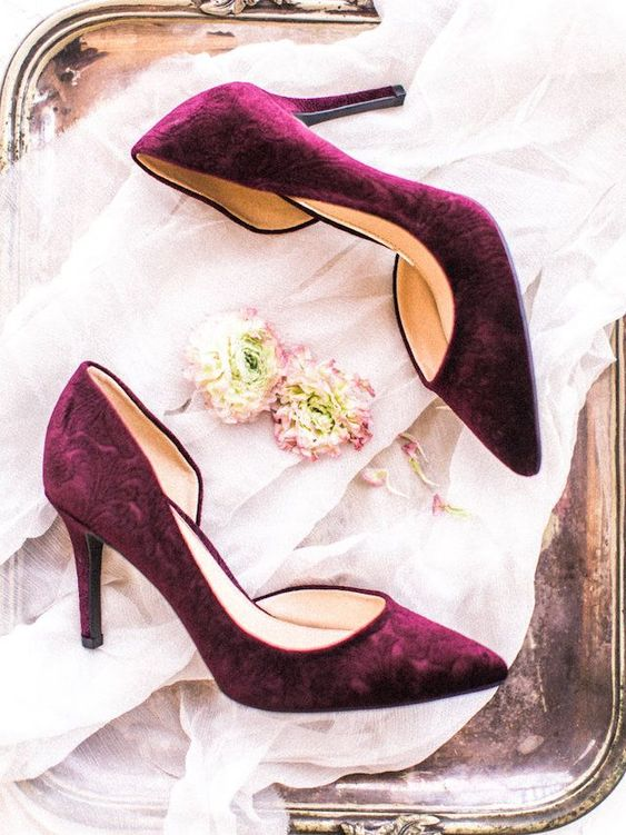 purple velvet heels bring a touch of color and pure elegance to your look