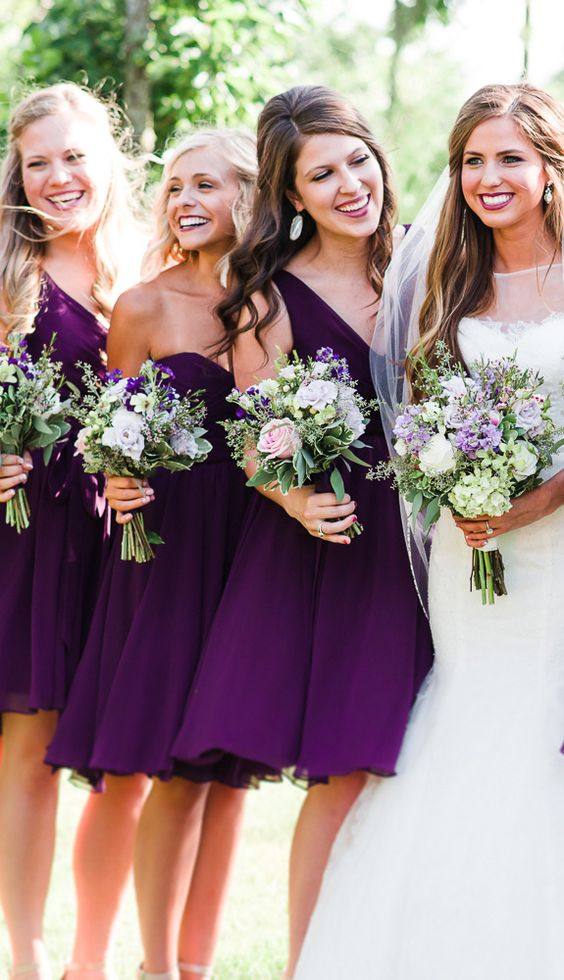 short mismatching eggplant purple knee bridesmaid dresses are elegant and chic