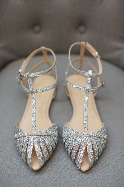 silver glitter strappy flats are a gorgeous and comfy option for a holiday wedding or just for a glitter touch