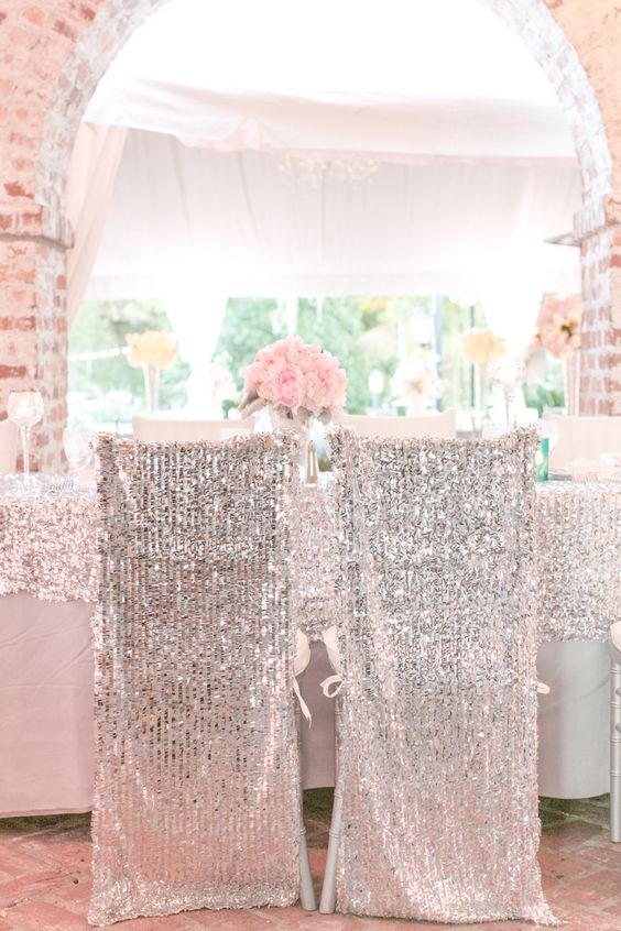 silver sequin chair covers will make your couple's chairs stand out with a glam feel