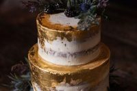 a naked wedding cake with gold leaf, thistles and blackberries is an ultimate option for a fall wedding