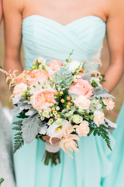 a strapless mint bridesmaid dress, a coral, mint and white bouquet for a bridesmaid