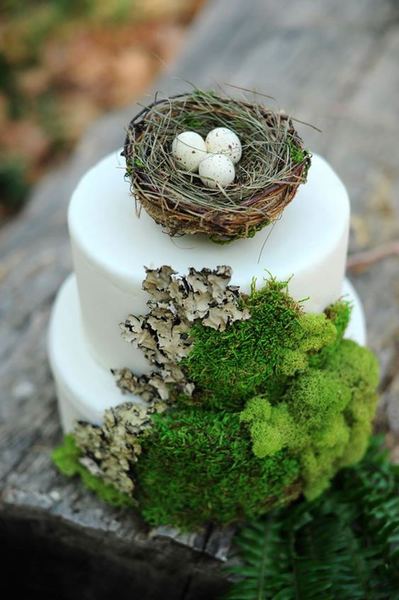 a white woodland wedding cake with moss and bark, with a faux nest and fake eggs is a lovely idea for a woodland wedding