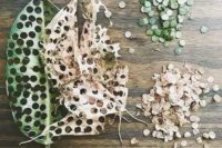 confetti made of fresh and dried leaves is a very cool idea, that is all-natural and eco-friendly