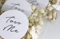 dried blooms is a very eco-friendly idea, they are biodegradable and a beautiful alternative to confetti